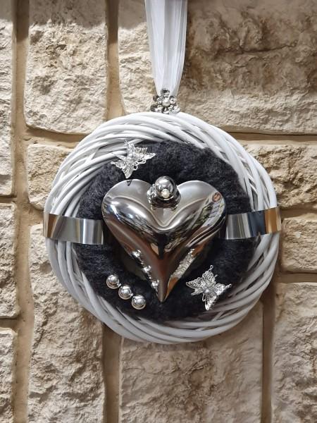 Türkranz Nr.84 Wandkranz 30 cm weiß mit anthrazit Filz und Herz