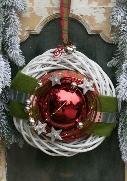 Winterkranz Wandkranz Nr.24 Türkranz weiß 30 cm rote Kugel Sterne Filz mit Lichterkette