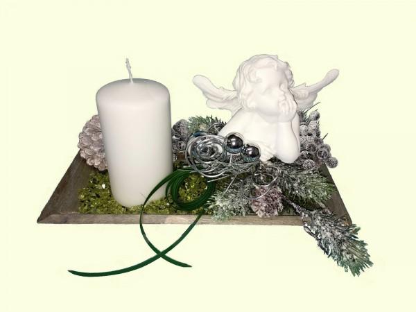 Adventsgesteck Nr.11  Tablett 16 x 30 cm mit weißer Kerze und  Engel
