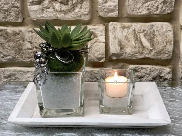 Tischgesteck Nr 54 Tischdeko Tablett Mit Sukkulente Und Teelicht