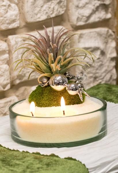 Glasschale mit Blumendekoration mit Kerzensand, Vanille, Sukkulente, Drahtwicklung, silber