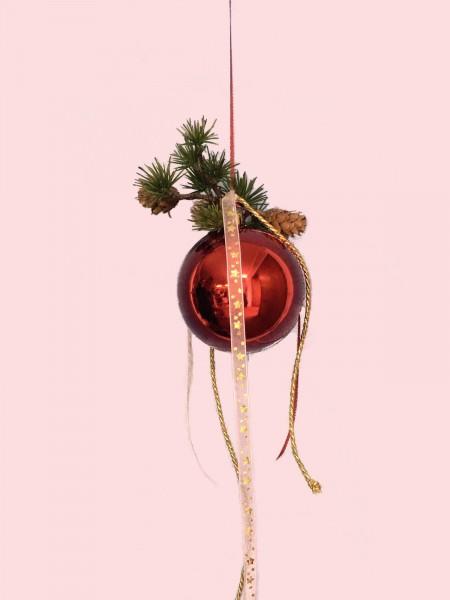 Fensterdeko Winter Nr.20 Weihnachtskugel 10 cm rot glänzend Tanne Fensterhänger