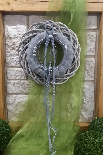 Türkranz 35 cm mit grauem Filz und silber Draht