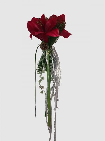 Fensterdeko Winter Nr.9 Amarillis rot 55 cm mit 3 Blüten Hänger Weihnachten