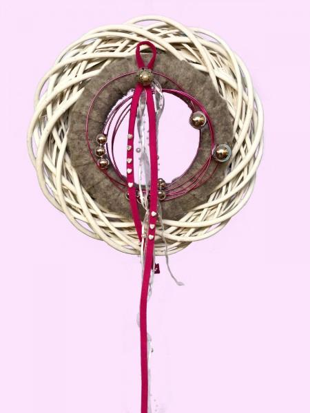 Türkranz Wandkranz Nr.29 Doppelkranz 35 cm grau silber Filz pink Türdekoration