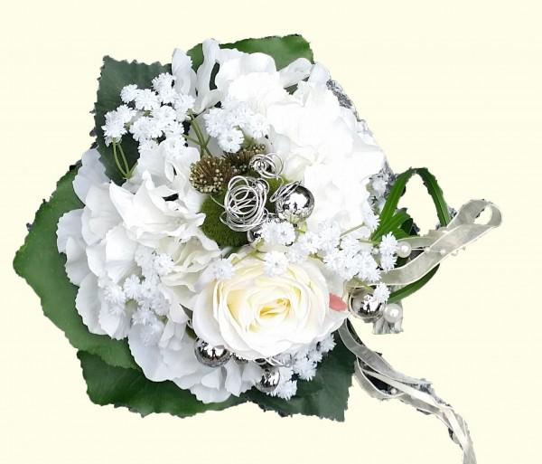 Blumenstrauß Nr.10 Strauß mit weißer Hortensie Rose und Schleierkraut