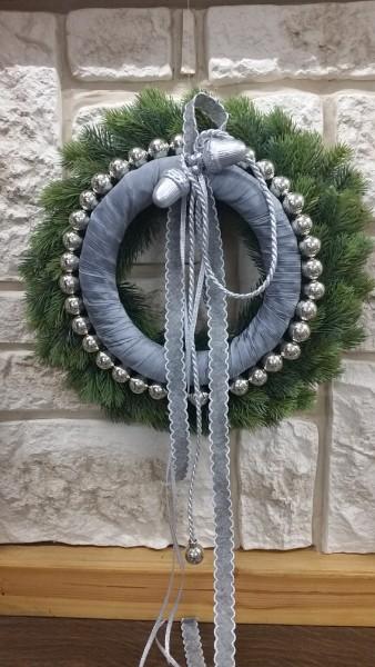 Türkranz Winter Wandkranz Nr.1 Tannenkranz 43 cm grau silber Weihnachten Türdeko dekoriert