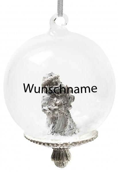 Persönliche Weihnachtskugel Nikolaus- Mundgeblasene Glaskugel mit Kunstschnee - mit Beschriftung