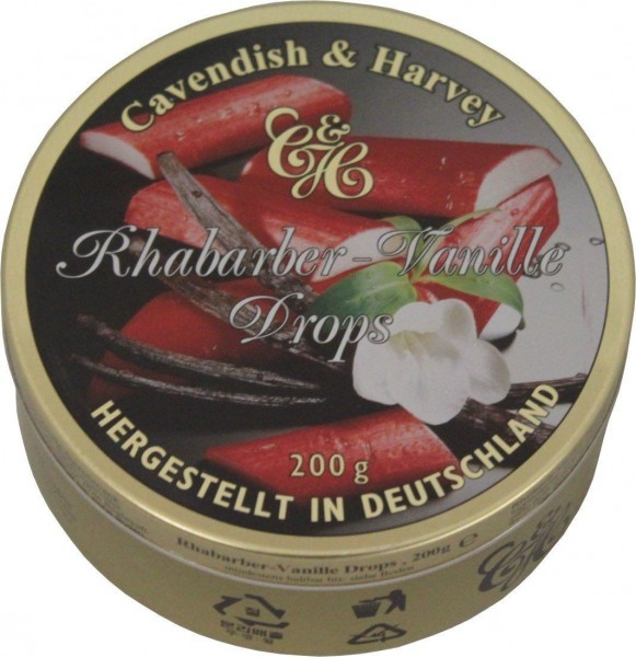 Cavendish & Harvey - Rhabarber - Vanille Drops - Bonbons - 200g in Metalldose