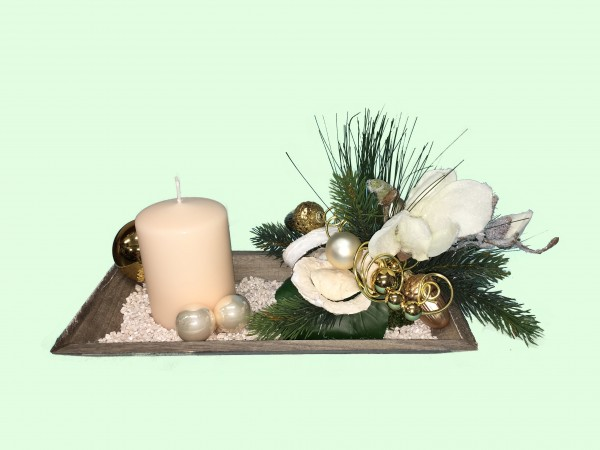 Adventsgesteck Nr.9 Tablett 16 x 30 cm creme Kerze und Magnolien Gesteck