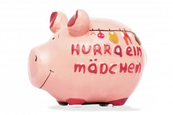 Lustiges Sparschwein - Hurra ein Mädchen - von KCG