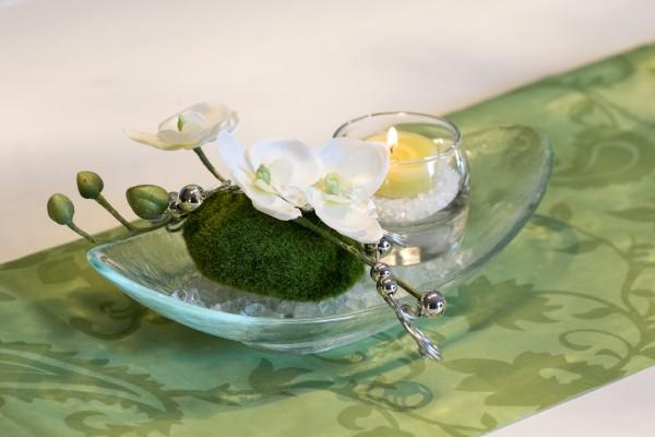 Tischgesteck Nr.82 , Glasschale mit Orchidee und Teelicht, Tischdeko für jeden Anlass