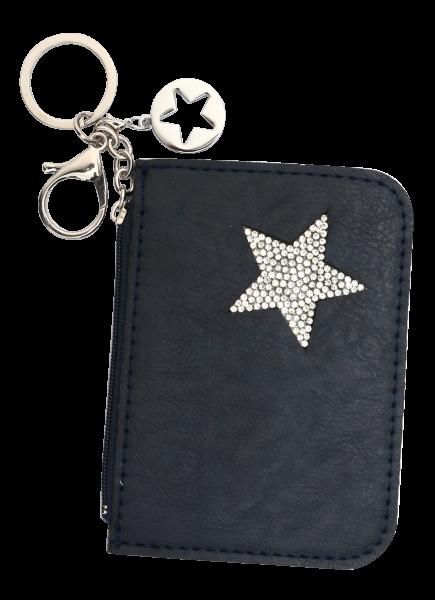 Vintage-Bag-Charm Goldline Etui blau Stern