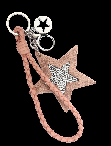 Vintage-Bag-Charm Schlüsselanhänger Stern Strass beige