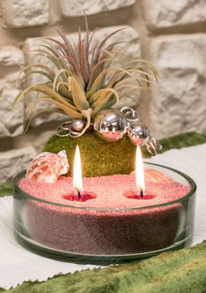 Blumengesteck mit Kerzensand bei Hiko-Dekoshop flieder