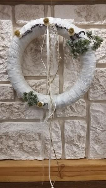 Tannenkranz Wandkranz Nr.4 Türkranz 35 cm creme Weihnachten Türdekoration auf Dekowand