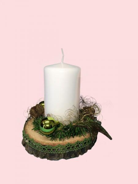 Adventsgesteck Nr.18 Baumscheibe mit weisser Kerze