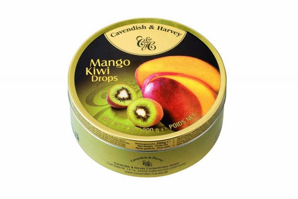 Cavendish & Harvey - Mango & Kiwi Drops - Bonbons - 200g in Metalldose
