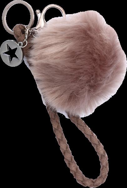 Vintage-Bag-Charm Schlüsselanhänger Puschel braun