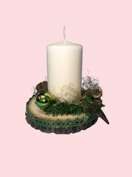 Adventsgesteck Nr.17 Baumscheibe mit creme Kerze