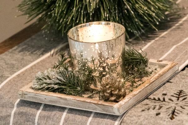 Adventsgesteck Nr.61 Holztablett mit Windlicht Teelicht Dekoideen Weihnachten