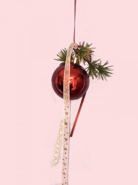 Fensterdeko Winter Nr.21 Weihnachtskugel 6 cm rot glänzend Tanne Fensterhänger