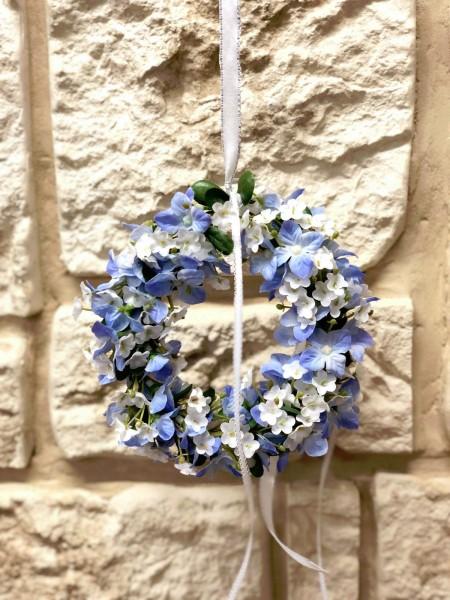 Wandkranz Nr.31 Türkranz 14,5 cm blau weiss mit kleinen Blüten Türdekoration