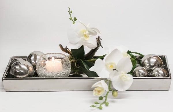 Edle Tischdekoration mit Orchidee und Silberkugeln, Windlicht, bei Hiko-Dekoshop