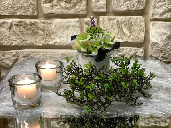 Tischgesteck Nr.46 Tischdeko Glasgefäß mit grüner Hortensie und Allium