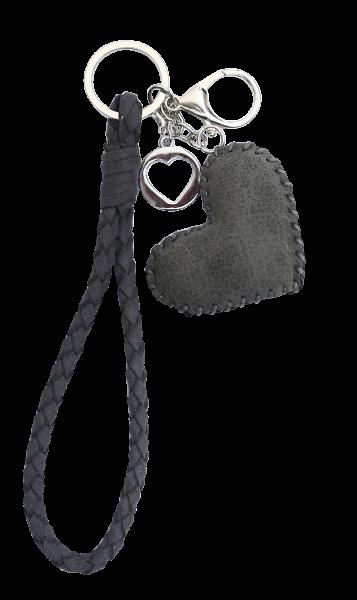 Vintage-Bag-Charm Schlüsselanhänger Herz grau