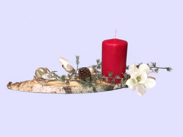 Adventsgesteck Nr.28 Birkenscheibe mit roter Kerze und Magnolie