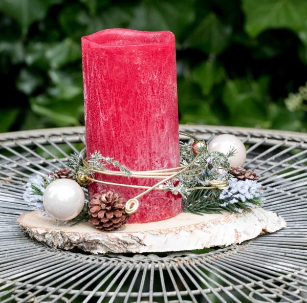 Adventsgesteck Weihnachten Advent Kerze LED Baumscheibe