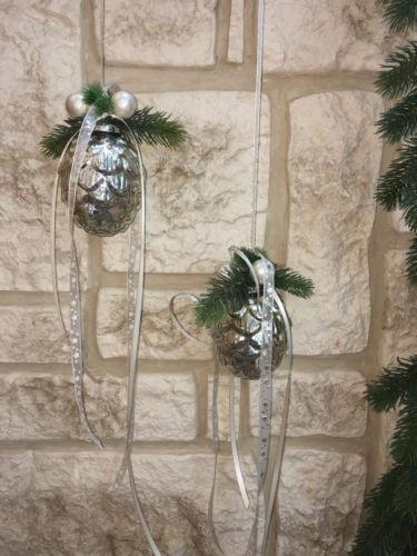 Fensterdeko Winter Nr.27 Glaszapfen 11 cm antiksilber Pinie Fensterhänger