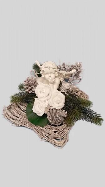 Grabgesteck Nr.1 mit Engel und weißen Zapfen