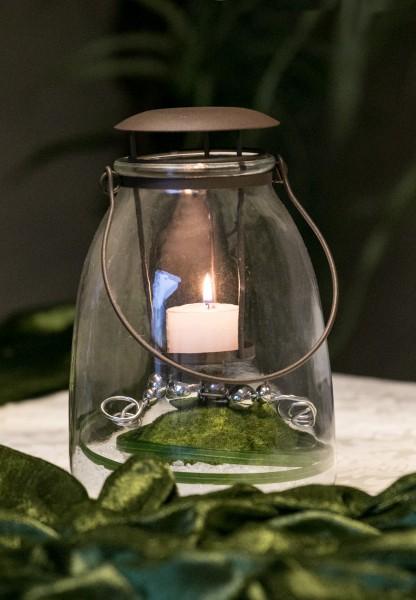 Tischdekoration Nr. 72 Glaswindlicht 23 cm Moospucker Windlicht