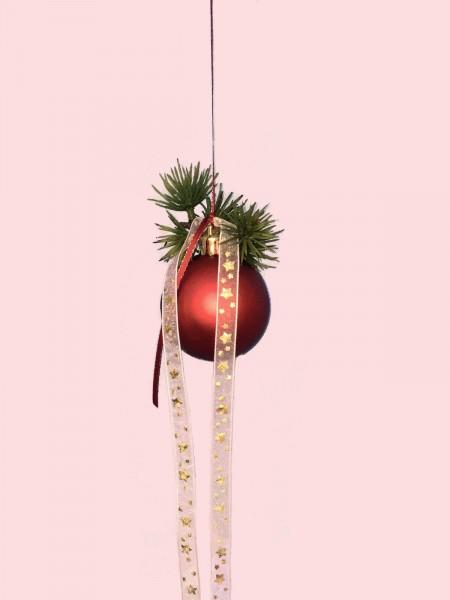 Fensterdeko Winter Nr.22 Weihnachtskugel 6 cm rot matt Tanne Fensterhänger