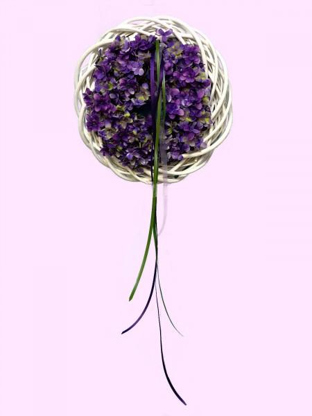 Wandkranz Nr.36 Türkranz weiß 35 cm mit Blütenkranz lila Sommerkranz Türdeko