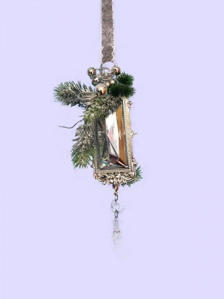 Fensterdeko Winter Nr.14  Ornament rechteckig 25 cm silber Hänger Weihnachten
