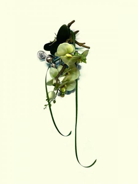Fensterdeko Nr.39 grüne Orchidee / Phalaenopsis 23 cm auf Wurzel Silberkugeln