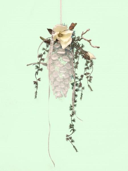 Fensterdeko Winter Glaszapfen 20 cm mit Magnolie und Tannengirlande