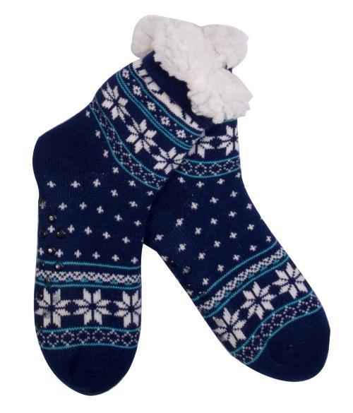 Goldline Norwegersocken, Hüttensocken, blau,  Schneeflocke bei HIKO Eventdeko