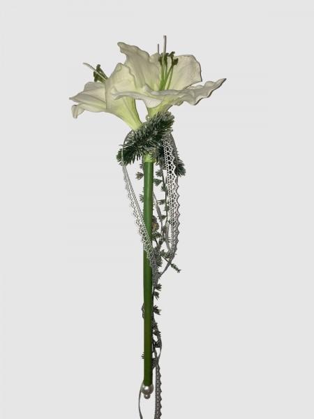 Fensterdeko Winter Nr.6  Amarillis weiß 55 cm silber/grau Hänger Weihnachten