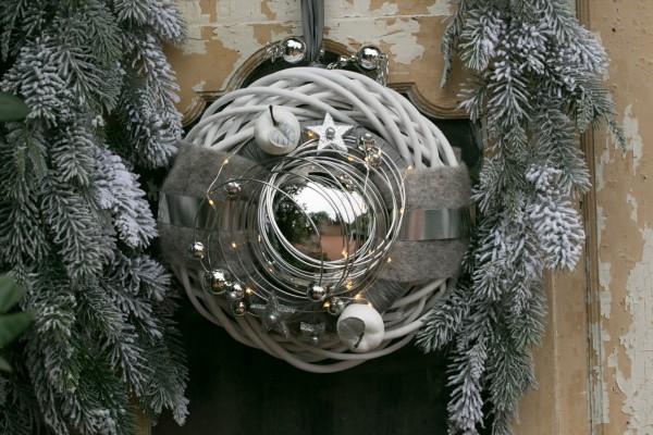 Winterkranz Wandkranz Nr.27 Türkranz weiß 30 cm Silberkugel Sterne Filz