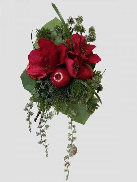 Weihnachtsstrauß Nr.7 - Blumenstrauss künstlich mit roten Amarillis Winter Seidenblume