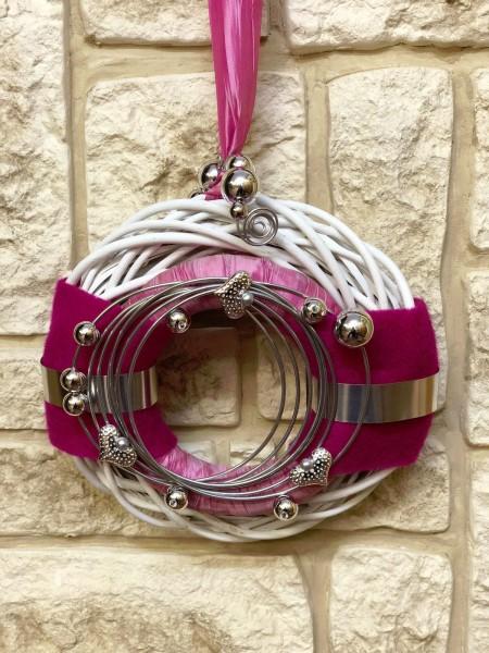 Türkranz weiß 30 cm mit Filz rosa silber pink modern Türdeko