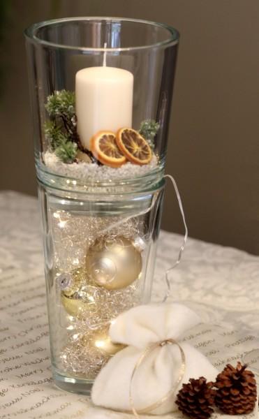 Doppelglas, creme, Wintergesteck mit Lichterkette