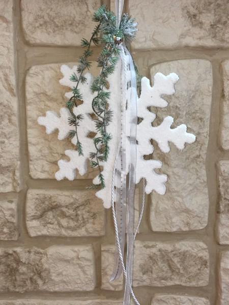 Fensterdeko Winter Nr.33 Schneeflocke weiss mit silber 25 cm Fensterhänger