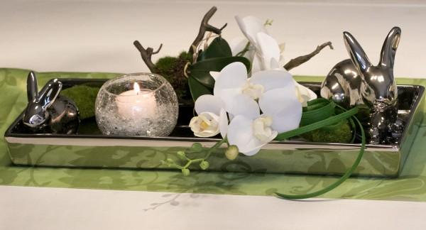 Tischgesteck Nr 64 Osterdekoration Tischdeko Weisse Tulpen Im Silber