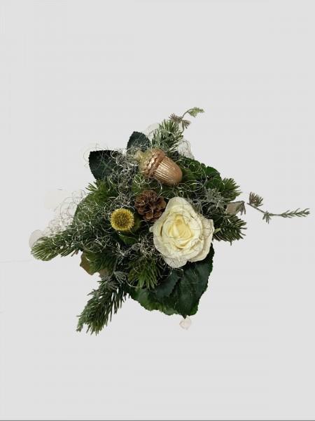 Weihnachtsstrauß Nr.12 - Blumenstrauss künstlich mit creme Rose und Engelshaar Winter Seidenblume