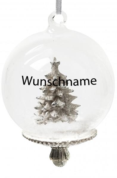 Persönliche Weihnachtskugel Tannenbaum- Mundgeblasene Glaskugel mit Kunstschnee - mit Beschriftung